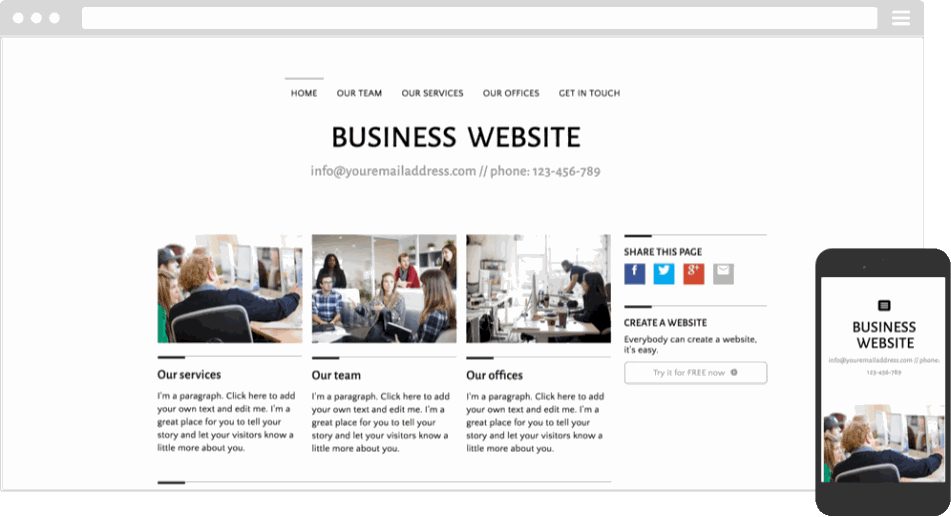 Mobile responsive template for a business website